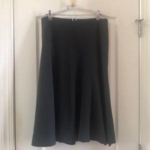 Ann Taylor charcoal gray a-line flounce skirt 14